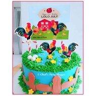 rooster , manok na pula , panabong cake topper for sabungero