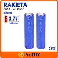 RAKIETA 18650 3.7V Flat Top / Button Top Rechargeable Battery 8800mAh