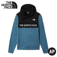 【The North Face 男 LOGO半襟刷毛帽T《藍/黑》】4U5K/保暖休閒大學T/連帽上衣/休閒長袖