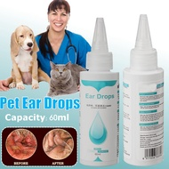 60ML Pet Drop Care Kit For Dogs Cats Cleaner Cleaning Ear Eliminate Mites Ear Wax Softening Deodorize
