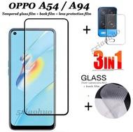 (3 in 1) สำหรับ OPPO A92 A91 A31 A12 A15 / OPPO A94 A74 A93 A15S A53 A54 ฟิล์มกระจกนิรภัยแบบเต็มหน้าจอ + ฟิล์มคาร์บอนไฟเบอร์ด้านหลัง + ฟิล์มเลนส์กล้อง