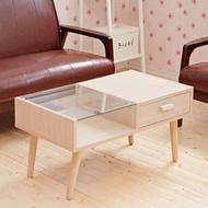【班尼斯】玻璃雙拼 抽屜收納茶几/實木桌腳(茶几)
