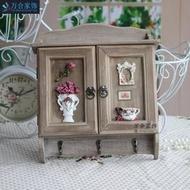 *小種子*創意歐式家居田園風格玫瑰花瓶實木鑰匙掛牌壁掛式裝飾品鑰匙箱