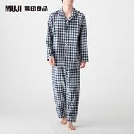 【MUJI 無印良品】男有機棉無側縫二重紗織家居睡衣(深藍格紋)