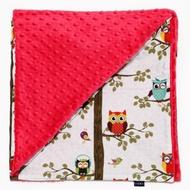 La Millou 單面巧柔豆豆毯(加大款)-樹屋貓頭鷹(粉紅棉花糖)