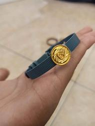 Gelang titanium dan emas muda berat 0.5 gram