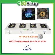 CHELSTAR 4 Burner Stainless Steel High Pressure Gas Cooker Stove Heavy Duty MS-40M - MS-4A Dapur Masak