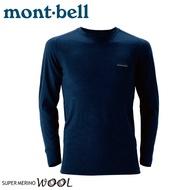 【Mont-Bell 日本 男 SPMW M.W.R-N 長袖羊毛中厚內衣《海軍藍》】1107235/羊毛長袖/內層衣/排汗衫/彈性透氣