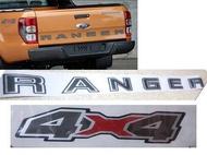 สติ๊กเกอร์ 4x4 + สติ๊กเกอร์ Ranger ข้างกระบะท้าย ซ้าย ขวา และฝากระโปรงท้าย Ford Ranger Sticker Ranger Sticker 4x4 V.3  ตัวหนา 2012 2013 2014 2015 2016 2017 2018 2019 + V.3