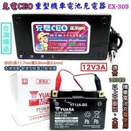[士丞電池]充電CEO 智慧型-充電機-充電器 YUASA湯淺 TTZ12S YTZ12S 12號機車電池-電瓶適用