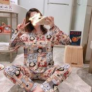 【TranDi】Korean printed pajamas  pajamas for women milk silk sleepwear pajamas set for women sleepwear Cartoon Nightwear suit