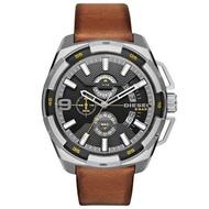 DIESEL 數度空間三眼計時時尚男錶-鐵灰x咖啡錶帶