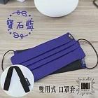 [組合] IHERMI 口罩套 + 黑色減壓帶 無段式調整 雙用全包覆 口罩 可替換式內層 布口罩 舒適透氣 愛好蜜寶石藍