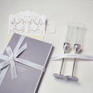 酒杯愛之結香檳對杯 禮盒裝結婚禮物   伊卡萊生活館