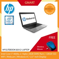 HP Elitebook 820 G1 Laptop / 12.5 inch LCD / Intel Core i7-4600U / 8GB DDR3 Ram / 128GB SSD / WiFi / Windows 8 Pro / Web