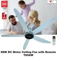 KDK DC Motor Ceiling Fan with Remote - T60AW (1 Year Warranty)