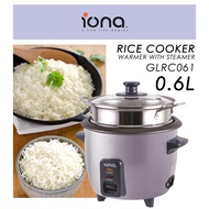 Iona 0.6L Rice Cooker and Warmer With Steamer - GLRC061 (1 Year Warranty)