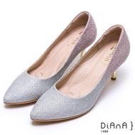 【DIANA】璀燦漸層鑽石紋金屬高跟婚鞋-漫步雲端厚切焦糖美人(銀粉)