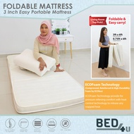 (Bed4U- FREE DELIVERY) ECOlux - Foldable Mattress 3inch Portable & Foldable Mattress/Tilam (ECOFoam Technology)