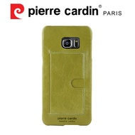 [ Samsung S6 edge+ ] Pierre Cardin法國皮爾卡登高級牛皮經典卡袋真皮手機殼/保護殼  果綠色