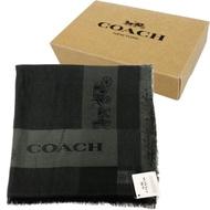 COACH 經典馬車羊毛混莫代爾絲巾圍巾禮盒(黑)