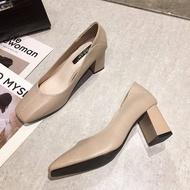 🎉รองเท้าคัชชูทำงานหัวเหลี่ยมส้นเหลี่ยมแฟชั่น รองเท้าคัชชูผู้หญิง รุ่น TP153🎉