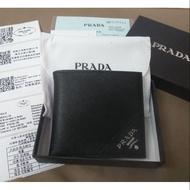 PRADA prada 長夾 皮夾 短夾 錢包 鈔票 男用 男生 男士 牛皮  黑色 保證卡 原廠盒 防塵袋 手提袋