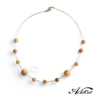 【AchiCat】天然檀香珠 鋼項鍊 珍貴典藏 手作檀香串珠項鍊 磁扣式項鍊 C9005
