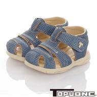 TOPUONE童鞋 傳統手工鞋高級超纖皮革防滑學步涼鞋-藍