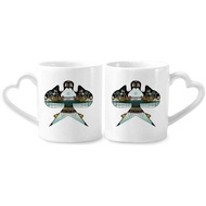 Kite Chinese Traditional Culture Pattern Couple Mugs Ceramic Lover Cups Heart Handle 12oz Gift - intl