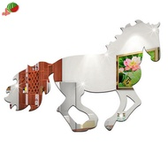 3D Galloping Horse Design Mirror Wall Clock Wall Sticker Decoration Decals