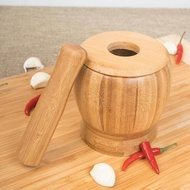 Pestle Grinding Bowl Set Bamboo Mortar And Pestle Pedestal Bowl Garlic Pot Spice Pepper Mill Tools Kitchen Tools