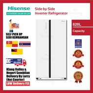 Hisense (620L) Side by Side Inverter Refrigerator White Glass RS686 N4AWU