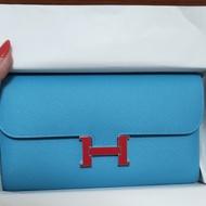 Hermes Constance 北方藍琺瑯釦 長夾
