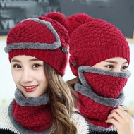 【EZlife】女士全方位防風保暖帽三件套紅色