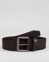 Superdry Master Perforated Leather Belt in Dark Brown