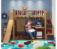 『小蘋果家具』高級全實木 經典帥氣男孩 書桌 衣櫃 高架床 溜滑梯 梯櫃 上下床