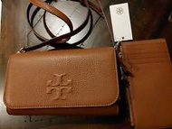 Tory Burch Thea Classic Tan Pebbled Leather Crossbody Bag Clutch + Card Wallet