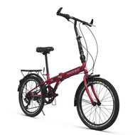 Folding Bicycle 20 Inch Shift Lightweight Men and Women Student Bike Spoked Wheel Adult Bicycle