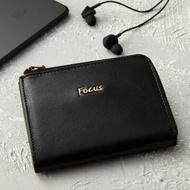 【FOCUS】原皮時尚黑L型短夾零錢包(FGA0089)