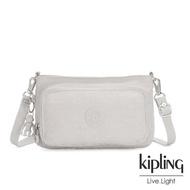 【KIPLING】探索亮銀灰前袋拉鍊長形肩背包-MYRTE