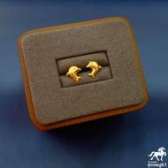 ต่างหูทองแท้ นน. 0.6 กรัม 96.5% ลายโลมา ขายได้ จำนำได้ มีใบรับประกัน ต่างหูทอง ต่างหูทองคำแท้
