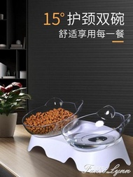 淘牧貓碗斜口寵物雙碗飲水貓食盆狗碗寵物碗貓咪碗狗飯碗貓咪用品