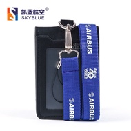 factory Airbus Logo Lanyard with ID Card Holder PU Leather Badge Case for 40 Years Souvenir Package