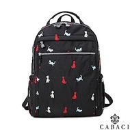 CABACI 淘氣小貓繡線輕量防潑水手提後背包-黑色