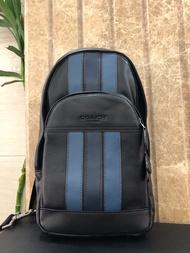 ของ แท้ COACH mens striped chest bag shoulder messenger bag กระเป๋าสะพายข้างผู้ชายลายทางกระเป๋าสะพายข้าง Handbag กระเป๋าถือ