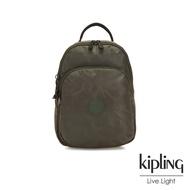 Kipling 迷彩緞灰雙層拉鍊後背包-SEOUL AIR S