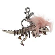 COACH 龐克風立體恐龍造型鑰匙圈(白/粉)