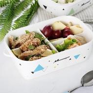 免運~分隔陶瓷飯盒 微波爐加熱專用帶蓋密封便當盒