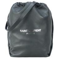 【YSL】SAINT LAURENT TEDDY 經典LOGO羊皮水桶肩背包(附手拿包/灰)